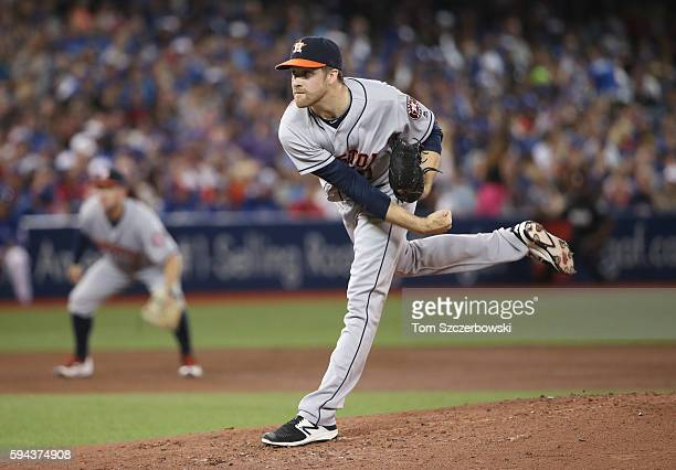 Collin McHugh of the Houston Astros delivers a pitch in the second inning during MLB game action against the Toronto Blue Jays on August 13 2016 at...