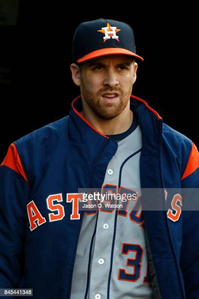 Collin McHugh of the Houston Astros enters the dugout before the game against the Oakland Athletics at the Oakland Coliseum on September 8 2017 in...
