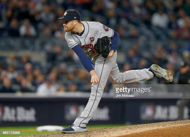 Collin McHugh of the Houston Astros in action against the New York Yankees in Game Three of the American League Championship Series at Yankee Stadium...