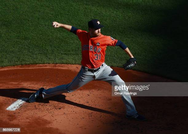 Collin McHugh of the Houston Astros picthes during the game against the Boston Red Sox at Fenway Park on October 1 2017 in Boston Massachusetts