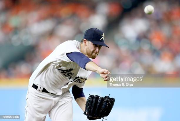 Collin McHugh of the Houston Astros pitches agains the Oakland Athletics in the first inning at Minute Maid Park on August 19 2017 in Houston Texas
