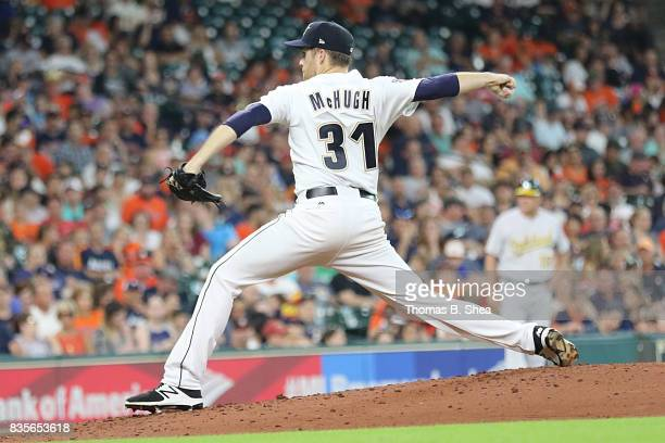 Collin McHugh of the Houston Astros pitches agains the Oakland Athletics in the third inning at Minute Maid Park on August 19 2017 in Houston Texas