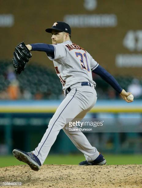Collin McHugh of the Houston Astros pitches against the Detroit Tigers at Comerica Park on September 11 2018 in Detroit Michigan