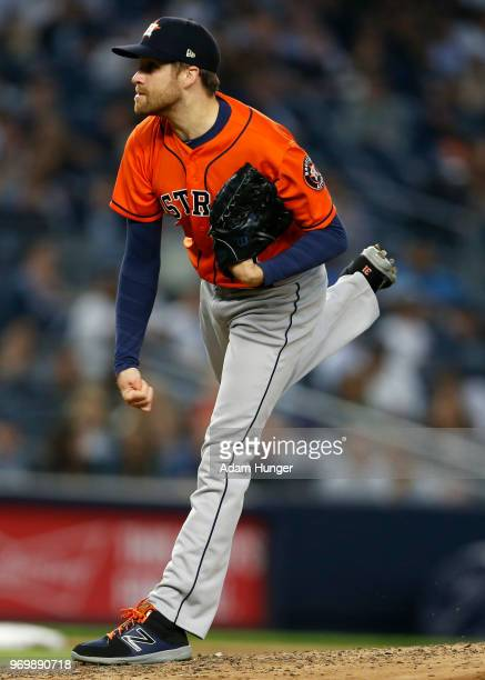 Collin McHugh of the Houston Astros pitches against the New York Yankees during the sixth inning at Yankee Stadium on May 30 2018 in the Bronx...