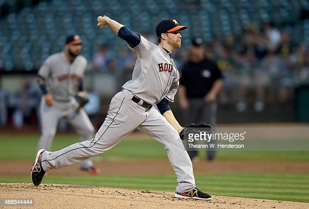 Collin McHugh of the Houston Astros pitches against the Oakland Athletics in the bottom of the first inning at Oco Coliseum on September 9 2015 in...