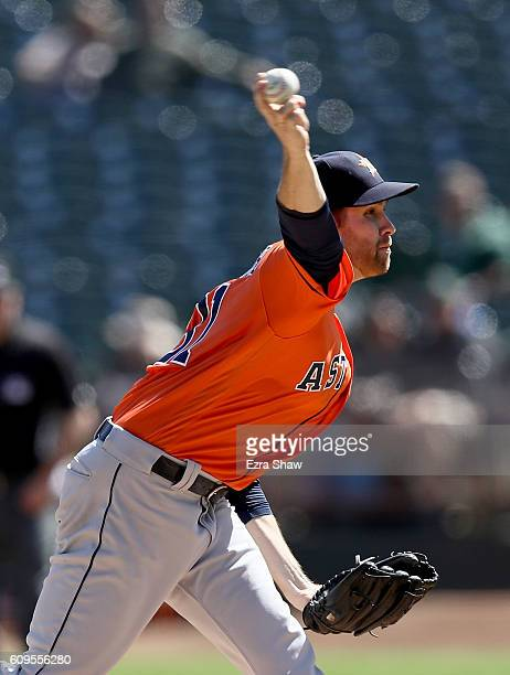 Collin McHugh of the Houston Astros pitches against the Oakland Athletics in the first inning at OaklandAlameda County Coliseum on September 21 2016...