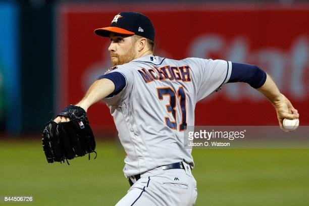 Collin McHugh of the Houston Astros pitches against the Oakland Athletics during the first inning at the Oakland Coliseum on September 8 2017 in...