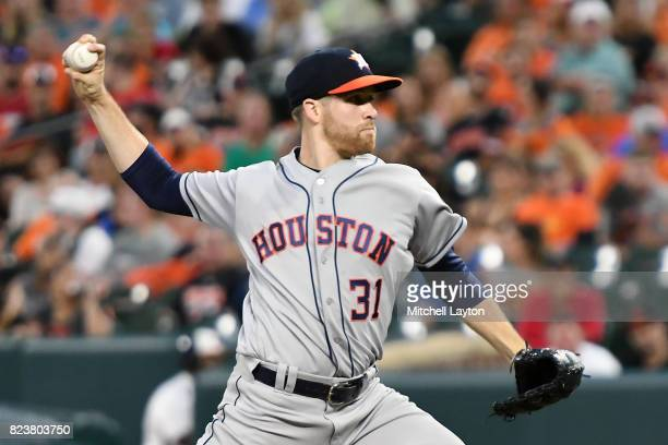 Collin McHugh of the Houston Astros pitches during a baseball game against the Baltimore Orioles at Oriole Park at Camden Yards on July 22 2017 in...