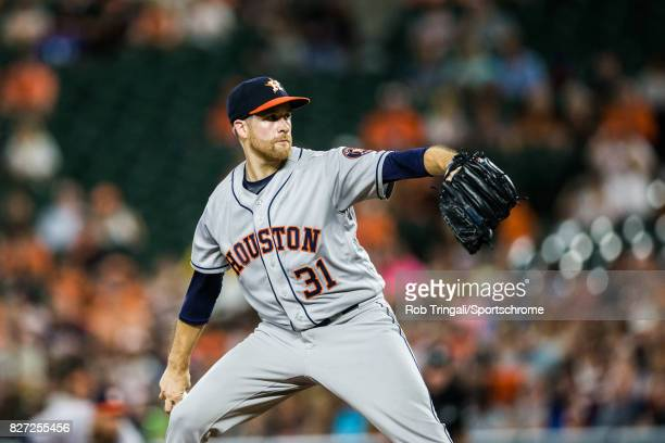 Collin McHugh of the Houston Astros pitches during the game against the Baltimore Orioles at Oriole Park at Camden Yards on July 22 2017 in Baltimore...