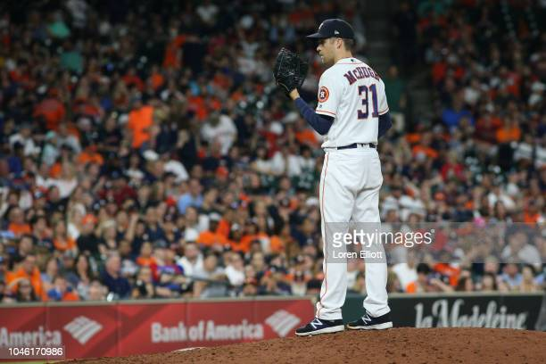 Collin McHugh of the Houston Astros pitches during the game between the Houston Astros and the Texas Rangers at Minute Maid Park on Saturday May 12...