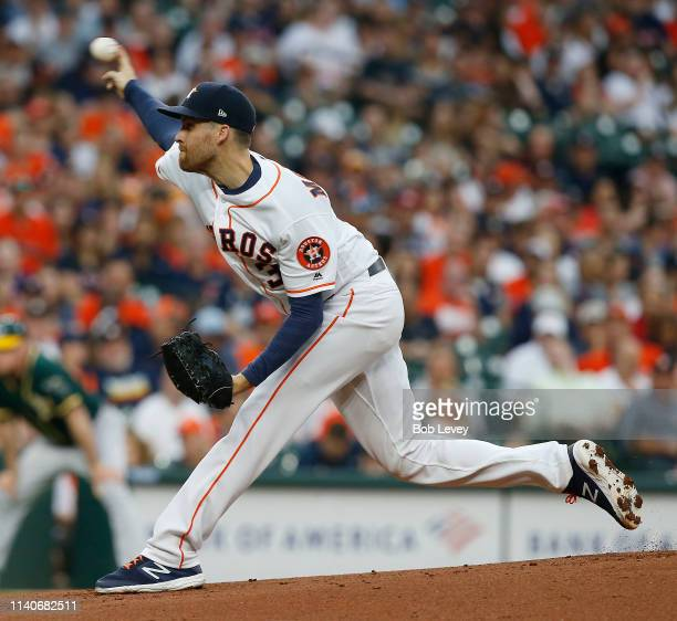 Collin McHugh of the Houston Astros pitches in the first inning against the Oakland Athletics of the Home Opener at Minute Maid Park on April 05 2019...