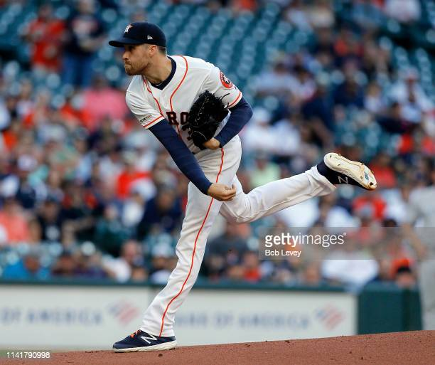 Collin McHugh of the Houston Astros pitches in the first inning against the New York Yankees at Minute Maid Park on April 10 2019 in Houston Texas