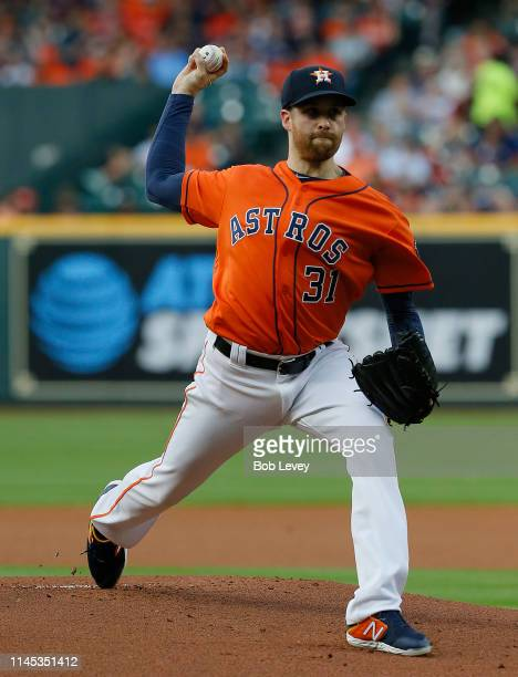 Collin McHugh of the Houston Astros pitches in the first inning against the Cleveland Indians at Minute Maid Park on April 26 2019 in Houston Texas