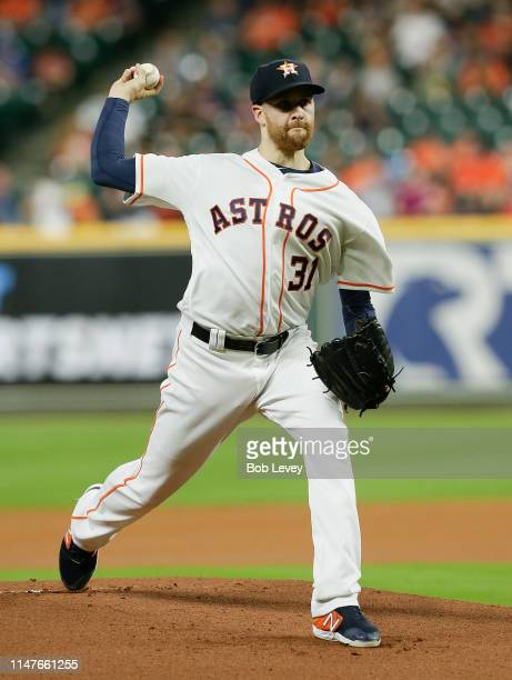 Collin McHugh of the Houston Astros pitches in the first inning against the Kansas City Royals at Minute Maid Park on May 07 2019 in Houston Texas