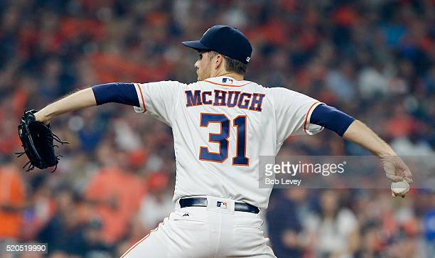 Collin McHugh of the Houston Astros pitches in the first inning against the Kansas City Royals at Minute Maid Park on April 11 2016 in Houston Texas
