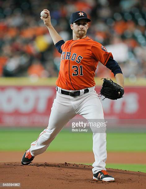 Collin McHugh of the Houston Astros pitches in the first inning against the Oakland Athletics at Minute Maid Park on July 8 2016 in Houston Texas