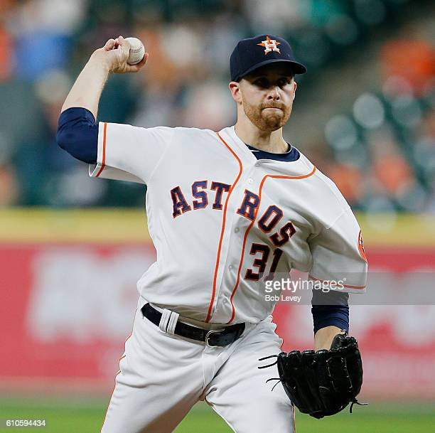 Collin McHugh of the Houston Astros pitches in the first inning against the Seattle Mariners at Minute Maid Park on September 26 2016 in Houston Texas