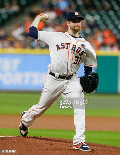 Collin McHugh of the Houston Astros pitches in the first inning against the Chicago White Sox at Minute Maid Park on September 19 2017 in Houston...