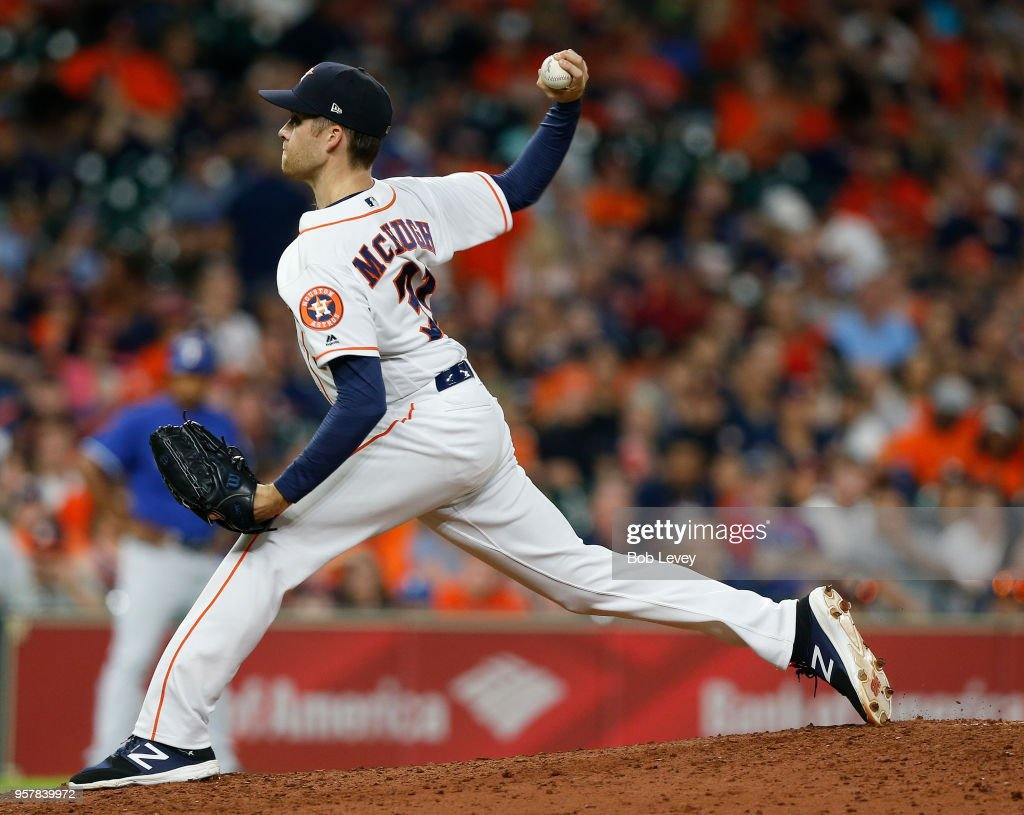 Collin McHugh #31 of the Houston Astros pitches in the ninth inning against the Texas Rangers at Minute Maid Park on May 12, 2018 in Houston, Texas.