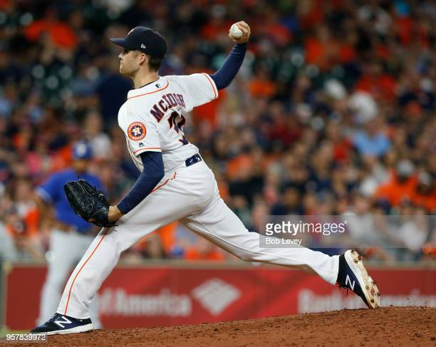 Collin McHugh of the Houston Astros pitches in the ninth inning against the Texas Rangers at Minute Maid Park on May 12 2018 in Houston Texas