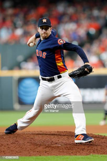 Collin McHugh of the Houston Astros pitches in the seventh inning against the Texas Rangers at Minute Maid Park on July 21 2019 in Houston Texas