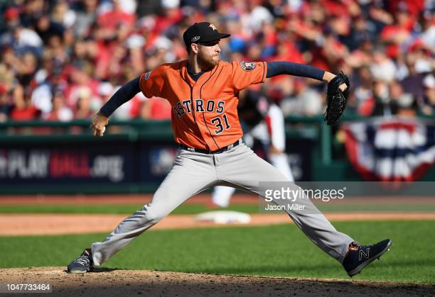 Collin McHugh of the Houston Astros pitches in the sixth inning against the Cleveland Indians during Game Three of the American League Division...
