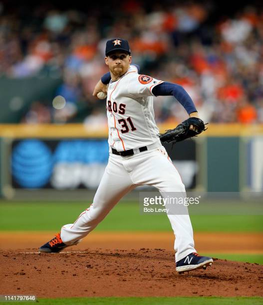 Collin McHugh of the Houston Astros pitches in the third inning against the New York Yankees at Minute Maid Park on April 10 2019 in Houston Texas