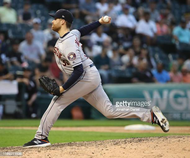 Collin McHugh of the Houston Astros pitches the 9th inning against the Chicago White Sox at Guaranteed Rate Field on August 13 2019 in Chicago...