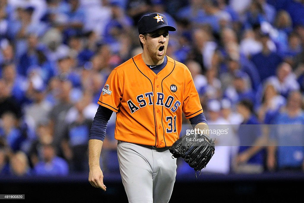 Collin McHugh #31 of the Houston Astros reacts after Ben Zobrist #18 of the Kansas City Royals (not pictured) grounds out to end the fifth inning during game one of the American League Division Series between the Kansas City Royals and the Houston Astros at Kauffman Stadium on October 8, 2015 in Kansas City, Missouri.