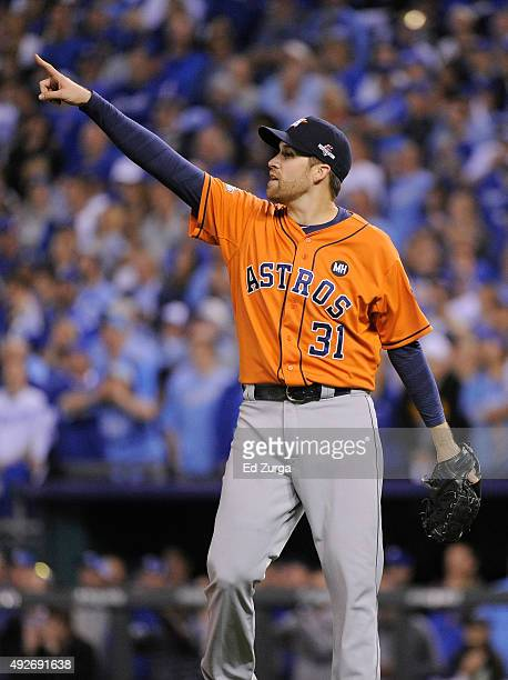 Collin McHugh of the Houston Astros reacts after Mike Moustakas of the Kansas City Royals flies out in the fourth inning during game five of the...