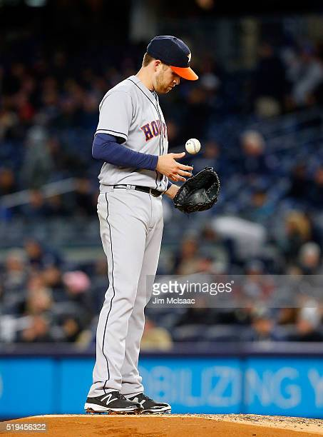 Collin McHugh of the Houston Astros stands on the mound prior to being removed from a game against the New York Yankees during the first inning at...