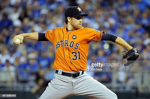 Collin McHugh of the Houston Astros throws a pitch in the first inning during game one of the American League Division Series against the Kansas City...