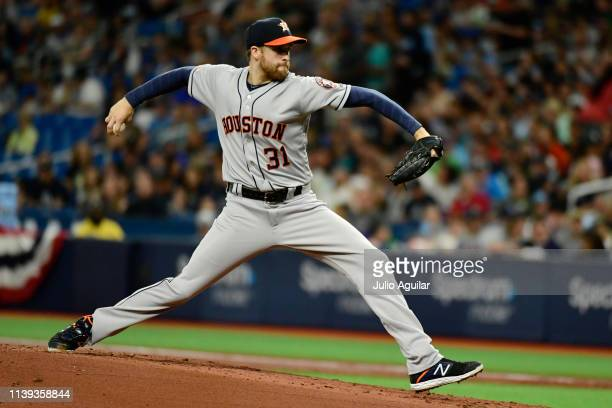 Collin McHugh of the Houston Astros throws a pitch in the first inning against the Tampa Bay Rays at Tropicana Field on March 30 2019 in St...