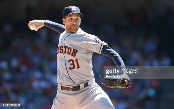 Collin McHugh of the Houston Astros throws against the Texas Rangers during the first inning at Globe Life Park in Arlington on April 21 2019 in...