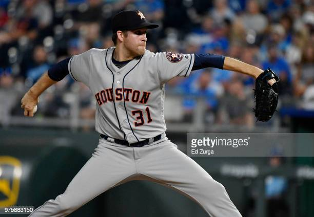 Collin McHugh of the Houston Astros throws in the ninth inning aKansas City Royals at Kauffman Stadium on June 15 2018 in Kansas City Missouri