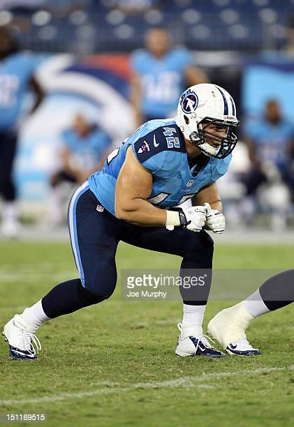 Collin Mooney of the Tennessee Titans is set in his stance against the New Orleans Saints at LP Field on August 30 2012 in Nashville Tennessee