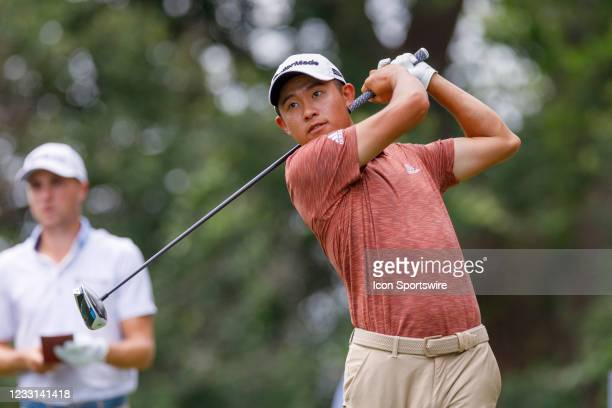 Collin Morikawa hits his tee shot on during the first round of the Charles Schwab Challenge on May 27, 2021 at Colonial Country Club in Fort Worth, TX