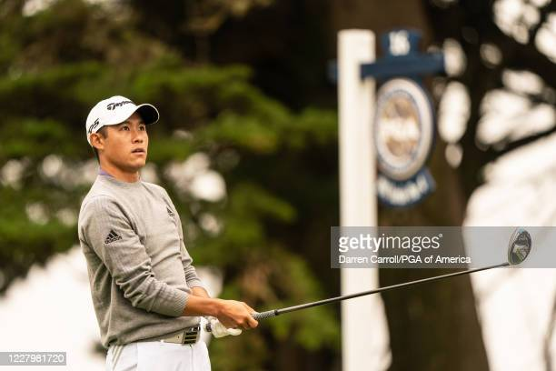 Collin Morikawa hits his tee shot on the 16th hole during the final round of the 102nd PGA Championship at TPC Harding Park on August 9, 2020 in San...
