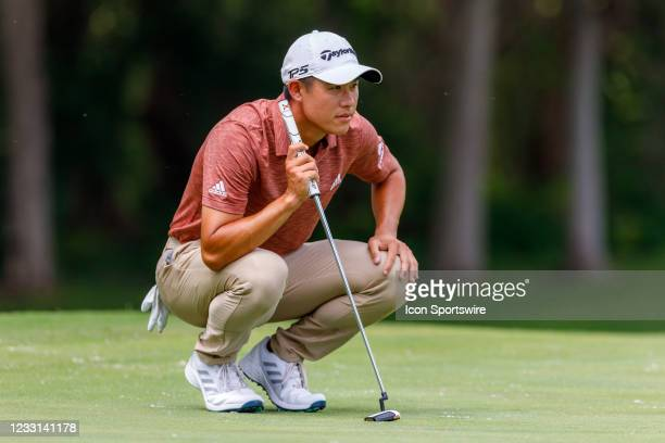Collin Morikawa lines up his putt on during the first round of the Charles Schwab Challenge on May 27, 2021 at Colonial Country Club in Fort Worth, TX