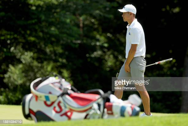 Collin Morikawa of Team USA plays during a practice round at Kasumigaseki Country Club ahead of the Tokyo Olympic Games on July 28, 2021 in Tokyo,...