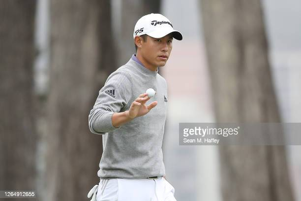 Collin Morikawa of the United States celebrates his eagle on the 16th green during the final round of the 2020 PGA Championship at TPC Harding Park...