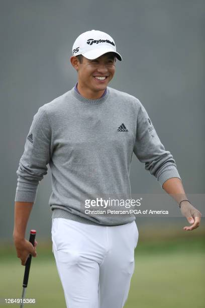 Collin Morikawa of the United States celebrates winning on the 18th green during the final round of the 2020 PGA Championship at TPC Harding Park on...