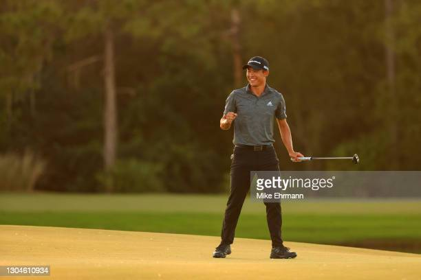 Collin Morikawa of the United States celebrates winning on the 18th green during the final round of World Golf Championships-Workday Championship at...