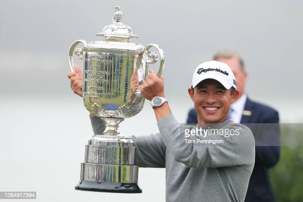 Collin Morikawa of the United States celebrates with the Wanamaker Trophy after the final round of the 2020 PGA Championship at TPC Harding Park on...