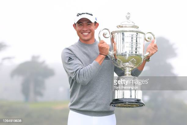 Collin Morikawa of the United States celebrates with the Wanamaker Trophy after winning during the final round of the 2020 PGA Championship at TPC...