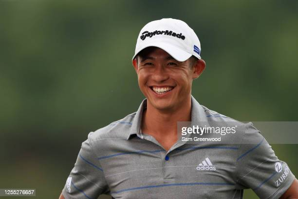 Collin Morikawa of the United States is interviewed after the first round of the Workday Charity Open on July 09 2020 at Muirfield Village Golf Club...