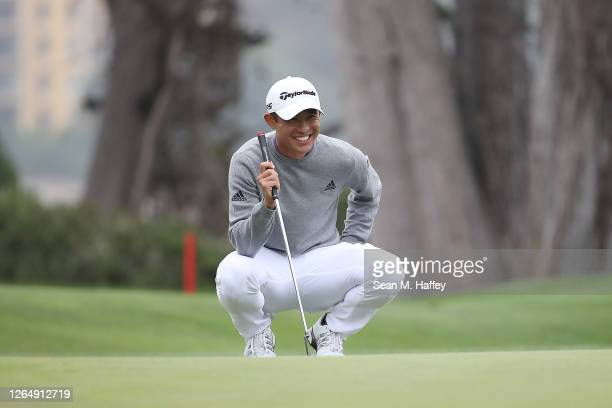 Collin Morikawa of the United States lines up a putt for eagle on the 16th green during the final round of the 2020 PGA Championship at TPC Harding...