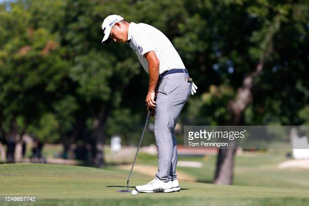 Collin Morikawa of the United States misses a putt during a playoff on the 17th green in the final round of the Charles Schwab Challenge on June 14...