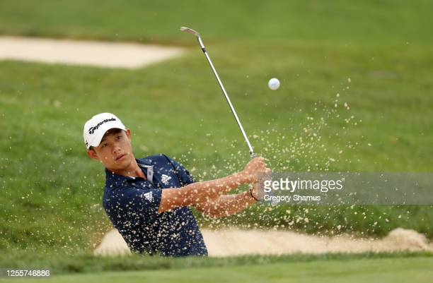 Collin Morikawa of the United States plays a shot from a bunker on the seventh hole during the final round of the Workday Charity Open on July 12...
