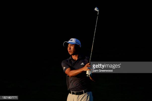 Collin Morikawa of the United States plays a shot on the 11th hole during the second round of The Memorial Tournament at Muirfield Village Golf Club...